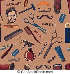 Hand drawn retro barbershop seamless pattern