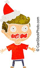 retro cartoon of a man totally stressed out wearing santa hat