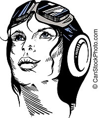 Hand-drawn retro female portrait of a pilot.