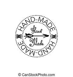 Hand-drawn retro vector hand-made badge
