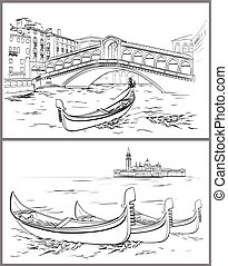 Hand drawn Rialto Bridge and Lido island, Venice - Vector...