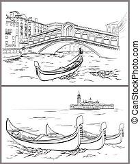 Hand drawn Rialto Bridge and Lido island, Venice - Vector...