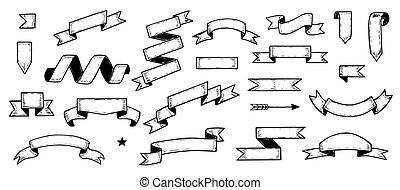 Hand Drawn Ribbon Set