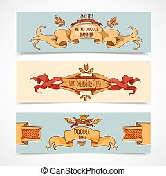 Hand Drawn Ribbons Banners