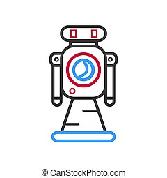 Hand drawn robot isolated on white vector illustration