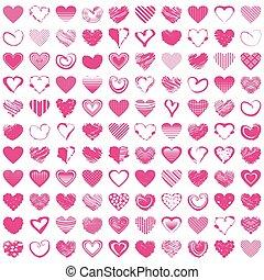 hand-drawn, romántico, hearts., vector, ilustración