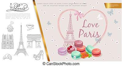 Hand Drawn Romantic Paris Concept