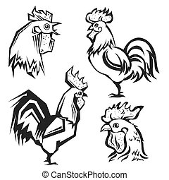 Hand drawn roosters. Vector set of cock.