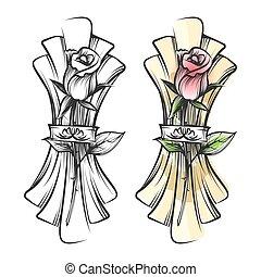 Hand drawn rose and napkin