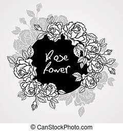 Hand drawn rose flower wreath vintage style. Vector illustration