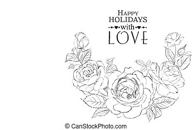 Hand drawn roses.