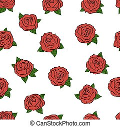 Hand drawn roses. Seamless pattern. Vector