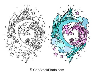 Hand drawn round composition of fish among seaweed.