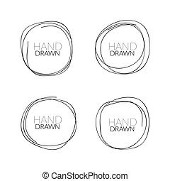 Hand drawn round doodle circle frame icon. Grunge hand drawn cirlce banner black pencil.