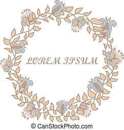 Hand-drawn round flower frame on a white background.