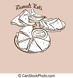 Hand-drawn Rumali Roti bread illustration. Flatbread, ...