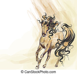 Hand drawn running horse