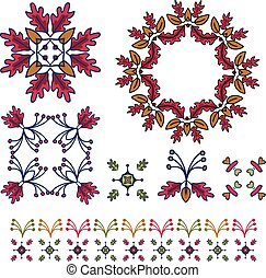Hand drawn rustic fall wreath illustration clipart set.