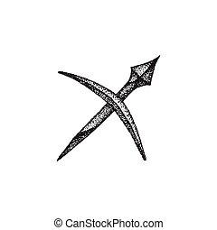 hand drawn sagittarius zodiac sign