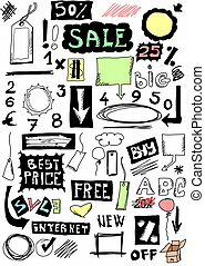 hand drawn sale, doodles desing elements