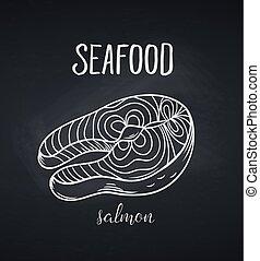 Hand drawn salmon steak icon