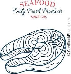 Hand drawn salmon steak icon.