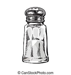 Hand drawn salt mill, shaker, grinder, isolated vector ...