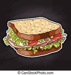 sandwich, color picture sticker