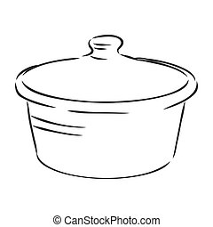 Hand Drawn Saucepan Sketch Symbol. Vector Pot Element In Trendy Style.