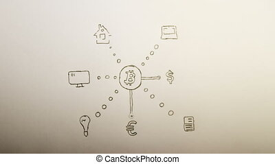 Hand drawn scheme with bitcoin icon in center and icons of...