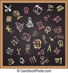 Hand drawn school color icon on chalkboard Vector illustration