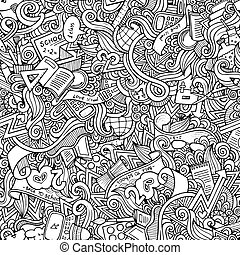 hand drawn school seamless pattern - Cartoon vector doodles...