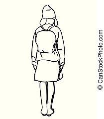Hand drawn schoolgirl with backpack. Vector sketch