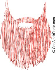Hand drawn scribble Beard isolated on white background Vector