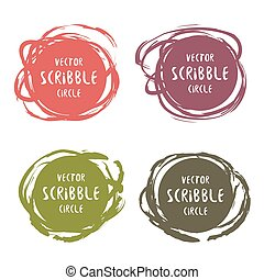 Hand drawn scribble colorful labels with text vector set