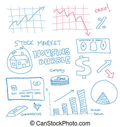 Hand drawn scribble of finance - Illustration of a hand...