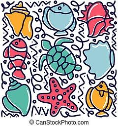 hand drawn sea animals doodle