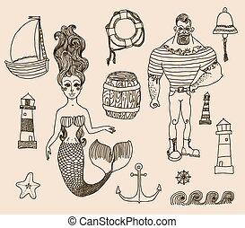 set with sailor, lighthouse, mermaid, ship and other. - Hand...