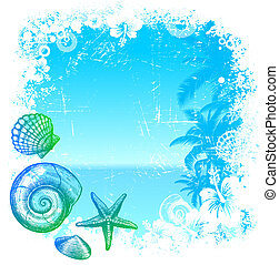 Hand drawn sea inhabitants on a tropical background - vector...