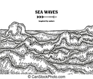 Hand drawn sea waves. Marine background in line art sketch style. Vector illustration