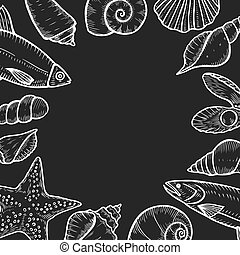 Hand drawn Seafood background