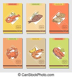 Hand Drawn Seafood Cards Design with Fish Crab and Lobster Restaurant Menu Template. Vector illustration