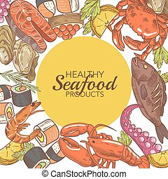 Hand Drawn Seafood Design with Fish Crab and Oysters restaurant Menu Vector illustration