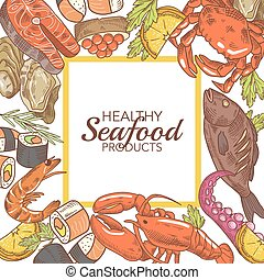 Hand Drawn Seafood Design with Fish Crab and Lobster Restaurant Menu. Vector illustration
