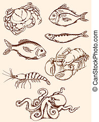 hand drawn seafood icons - set of hand drawn vintage seafood...