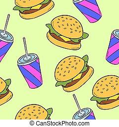 Hand-drawn seamless american fast food pattern. Vector illustration.