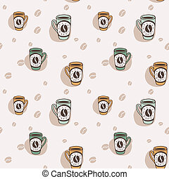 Hand drawn seamless background with coffee mugs