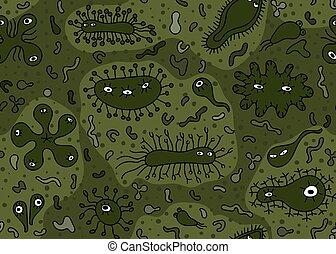 Hand drawn seamless bacterium pattern. Vector illustration