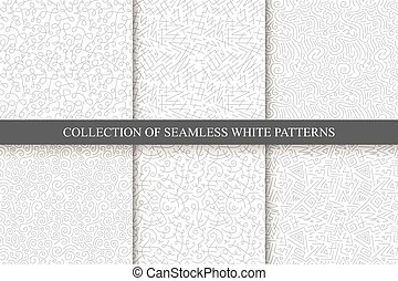 Hand drawn seamless curly patterns
