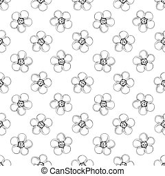 Hand drawn seamless floral pattern. Black and white pattern in sketch style.